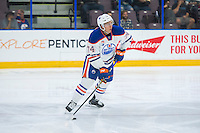 PENTICTON, CANADA - SEPTEMBER 16: Ethan Bear #74 of Edmonton Oilers looks for the pass against the Edmonton Oilers on September 16, 2016 at the South Okanagan Event Centre in Penticton, British Columbia, Canada.  (Photo by Marissa Baecker/Shoot the Breeze)  *** Local Caption *** Ethan Bear;