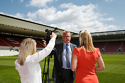 RSG CEO Mike Beesley is interviewed by Bristol Sport's Lisa Knights - Photo mandatory by-line: Rogan Thomson/JMP - 07966 386802 - 09/07/2015 - SPORT - Bristol, England - Ashton Gate Stadium - Bristol Sport Preseason Sponsor Photos.