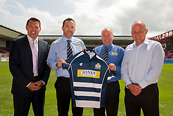 Bristol Sport CEO Andrew Billingham, Bristol Rugby lead Sponsors Jones Building Group and Bristol Rugby Director of Rugby, Andy Robinson - Photo mandatory by-line: Dougie Allward/JMP - 07966 386802 - 09/07/2015 - SPORT - Bristol, England - Ashton Gate Stadium - Bristol Sport Preseason Sponsor Photos.