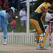 Harmanpreet Kaur bowling  during the ICC Women's World Cup Cricket play off for third place between Australia and India at Bankstown Oval, Sydney, Australia on March 21, 2009. India beat Australia by three wickets. Photo Tim Clayton