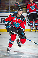 KELOWNA, CANADA - OCTOBER 27: Gordie Ballhorn #4 of the Kelowna Rockets warms up against the Tri-City Americans on October 27, 2017 at Prospera Place in Kelowna, British Columbia, Canada.  (Photo by Marissa Baecker/Shoot the Breeze)  *** Local Caption ***