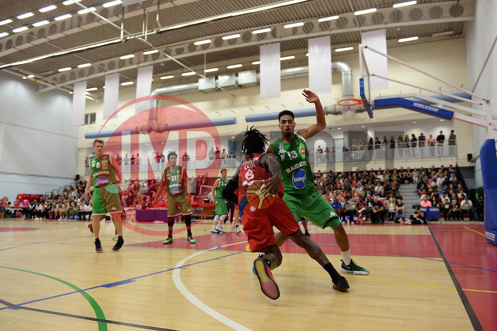 Lovell Cook of Bristol Flyers plays the ball behind him - Photo mandatory by-line: Dougie Allward/JMP - 24/09/2016 - BASKETBALL - SGS Wise Arena - Bristol, England - Bristol Flyers v Plymouth Raiders - British Basketball League Championship