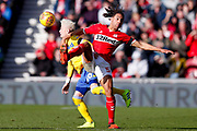 Leeds United midfielder Ezgjan Alioski (10) in action  during the EFL Sky Bet Championship match between Middlesbrough and Leeds United at the Riverside Stadium, Middlesbrough, England on 9 February 2019.