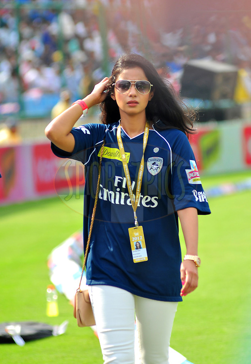 Deccan Chargers owner Gayatri reddy before match 23 of the the Indian Premier League ( IPL) 2012  between The Delhi Daredevils and the Deccan Chargers held at the Feroz Shah Kotla, Delhi on the 19th April 2012..Photo by Arjun Panwar/IPL/SPORTZPICS