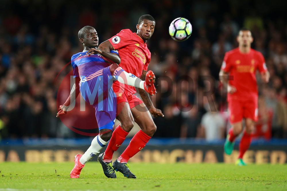 Ngolo Kante of Chelsea under pressure from Georginio Wijnaldum of Liverpool - Mandatory by-line: Jason Brown/JMP - 16/09/2016 - FOOTBALL - Stamford Bridge - London, England - Chelsea v Liverpool - Premier League