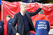 Arsene Wenger giving a thumbs up during the Champions League round of 16, game 2 match between Arsenal and Bayern Munich at the Emirates Stadium, London, England on 7 March 2017. Photo by Matthew Redman.