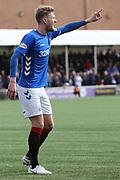 Rangers defender Joe Worrall (3) points during the Ladbrokes Scottish Premiership match between Hamilton Academical FC and Rangers at New Douglas Park, Hamilton, Scotland on 24 February 2019.