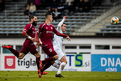 Majcen Luka of NK Triglav and Mlakar Tilen of NK Triglav with Luka Volaric of NK Krsko during Football match between NK Triglav Kranj and NK Krsko in 33th Round of Prva liga Telekom Slovenije 2018/19, on May 15th, 2019, in Sports park Kranj, Slovenia. Photo by Grega Valancic / Sportida