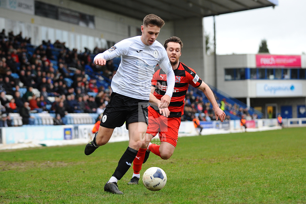 TELFORD COPYRIGHT MIKE SHERIDAN Ryan Barnett of Telford during the Vanarama Conference North fixture between AFC Telford United and Darlington at The New Bucks Head on Saturday, March 7, 2020.<br /> <br /> Picture credit: Mike Sheridan/Ultrapress<br /> <br /> MS201920-049