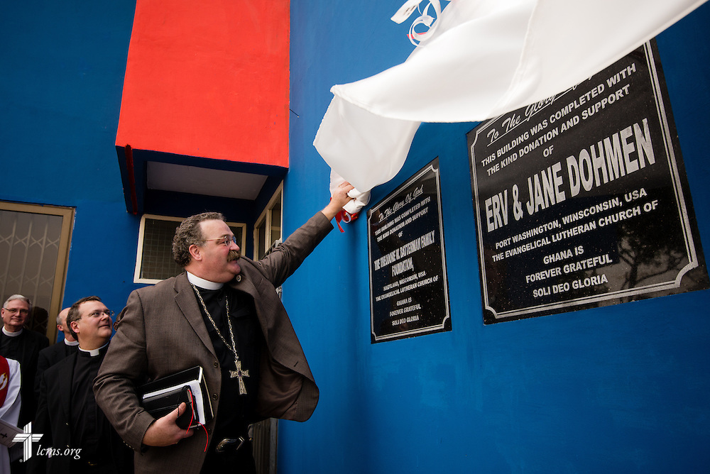 LCMS President Rev. Dr . Matthew C. Harrison unveils plaques during the dedication of the Lutheran Theological Seminary of the Evangelical Lutheran Church of Ghana on Sunday, Feb. 2, 2014, in Greater Accra, Ghana. LCMS Communications/Erik M. Lunsford