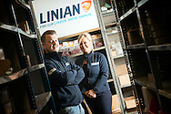 Brother and sister, Ian Arbuckle and Lynne Jhangeer run the company LINIAN, based in Glasgow.<br /> October 3, 2016 in Glasgow, Scotland. (Photo by Ross Gilmore)
