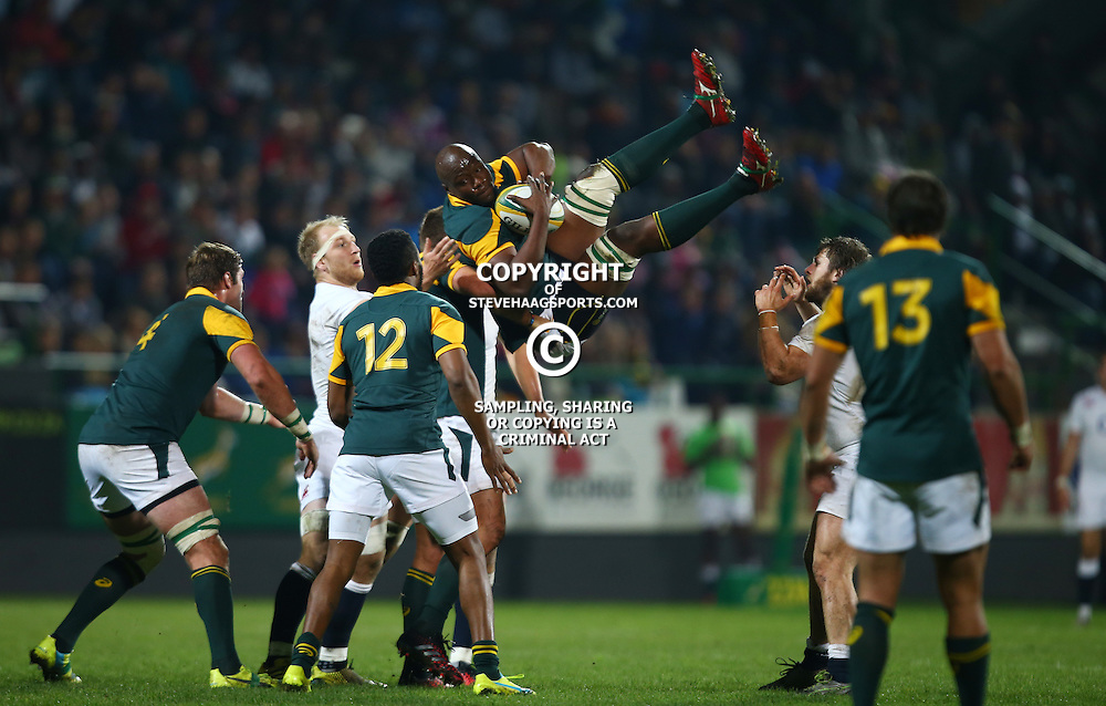 "George, SOUTH AFRICA, 17,June, 2016 - Oupa Mohoje (captain) of South Africa A taking the re start during the South Africa ""A"" v England Saxons - 2nd match,Outeniqua Park in George,Southern Cape  South Africa (Photo by Steve Haag) - Images for Getty Images  - England Saxons."