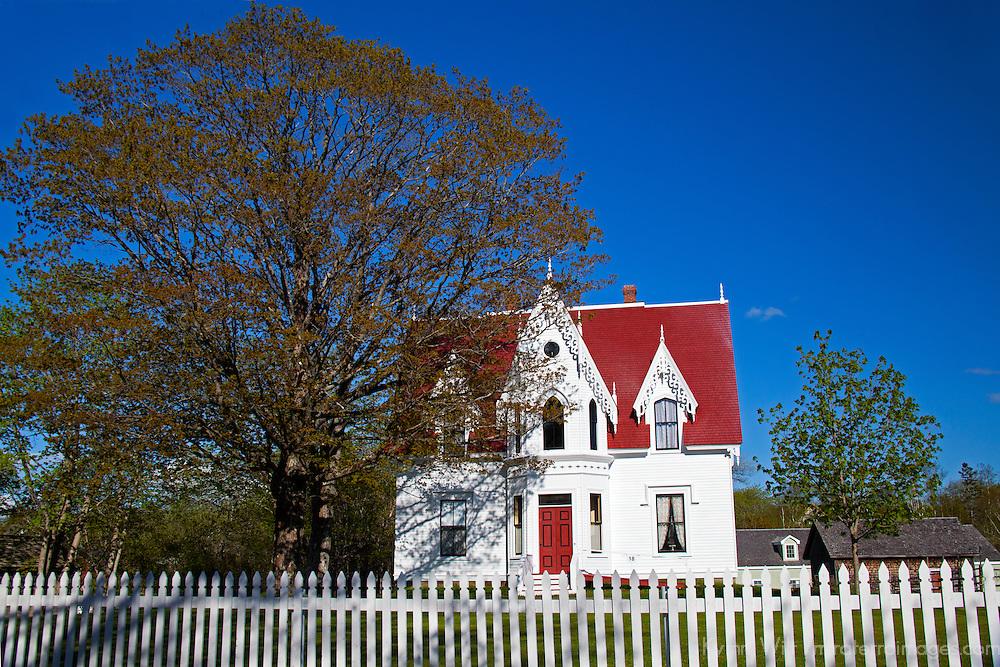 North America, Canada, Nova Scotia, Sherbrooke. Greenwood Cottage in Sherbrooke Village, an open air museum in Guysborough.