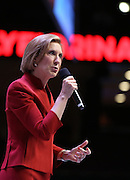 Republican presidential candidate and former CEO Carly Fiorina speaks at the Heritage Foundation Take Back America candidate forum September 18, 2015 in Greenville, South Carolina. The event features 11 presidential candidates but Trump unexpectedly cancelled at the last minute.