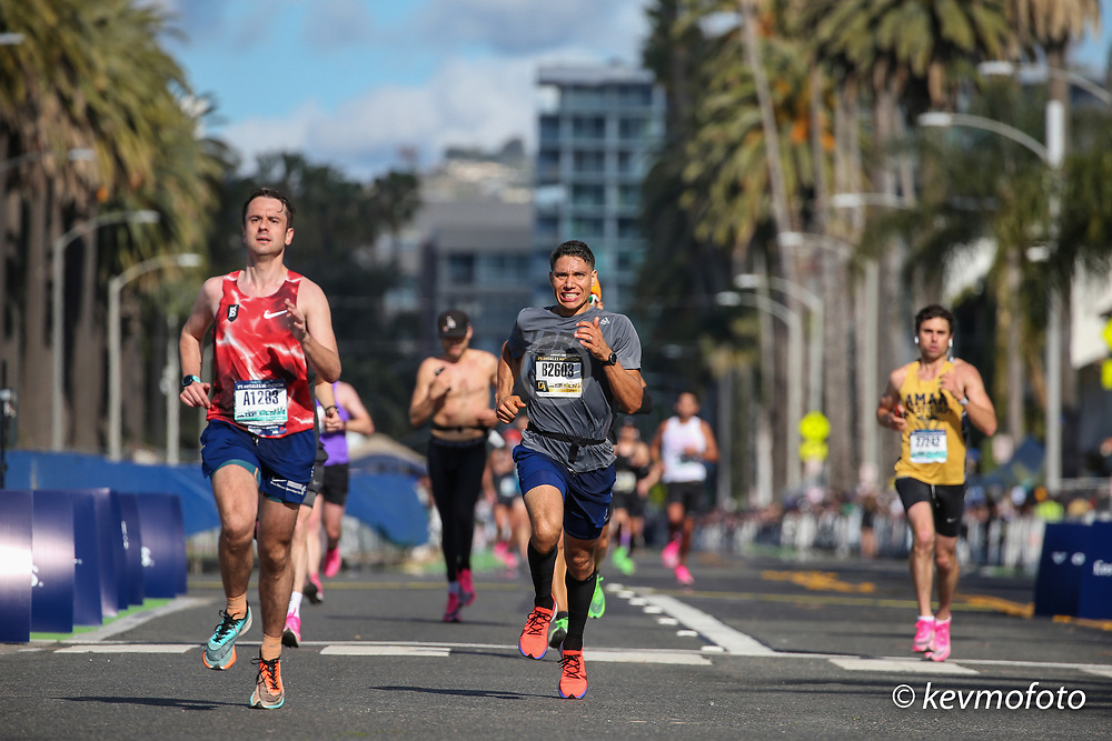 runners approach the finish line at the Los Angeles Marathon