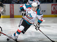 KELOWNA, CANADA, JANUARY 1: Filip Vasko #10 of the Kelowna Rockets skates on the ice as the Calgary Hitmen visit the Kelowna Rockets on January 1, 2012 at Prospera Place in Kelowna, British Columbia, Canada (Photo by Marissa Baecker/Getty Images) *** Local Caption ***