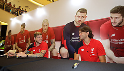 KUALA LUMPUR, MALAYSIA - Wednesday, July 22, 2015: Liverpool's Alberto Moreno and Lazar Markovic during an event at the Mid Valley Mega Mall on day ten of the club's preseason tour. (Pic by David Rawcliffe/Propaganda)