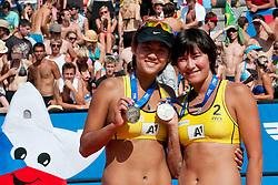 Second place for Chen Xue and Xi Zhang of China at A1 Beach Volleyball Grand Slam tournament of Swatch FIVB World Tour 2011, on August 6, 2011 in Klagenfurt, Austria. (Photo by Matic Klansek Velej / Sportida)