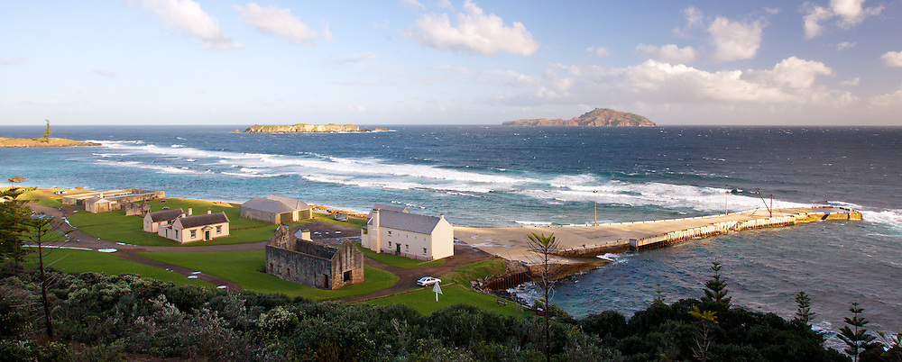 View of Philip Island and Nepean Island with Quality Row in the foreground, Norfolk Island, Australia