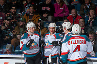 KELOWNA, CANADA - FEBRUARY 22: Tomas Soustal #15, Carsen Twarynski #18, Cal Foote #25 and Gordie Ballhorn #4 of the Kelowna Rockets celebrate a goal against the Edmonton Oil Kings on February 22, 2017 at Prospera Place in Kelowna, British Columbia, Canada.  (Photo by Marissa Baecker/Shoot the Breeze)  *** Local Caption ***