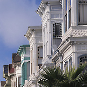 San Francisco, CA; Colorful Victorian Rowhouses In Mission District South Of Market Street (SOMA)