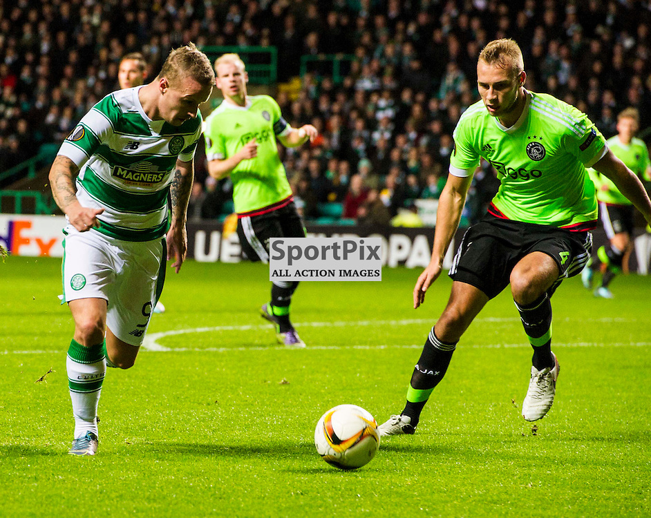 Leigh Griffiths manages to get the ball out of his feet in the first half as Celtic host Ajax at Parkhead in the Europa League.<br /> &copy; Ger Harley/ SportPix.org.uk 26 November 2015
