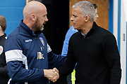 Colchester United Manager John McGreal Keith Curle Manager of Carlisle United FC during the EFL Sky Bet League 2 match between Colchester United and Carlisle United at the Weston Homes Community Stadium, Colchester, England on 14 October 2017. Photo by Phil Chaplin