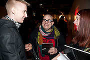 THOMAS QUALMANN; FRANKO B; CELIA BAILEY, Fired Up, Exhibition of work by Joe Clark, Lauren Cotton, Rory McCartney, David Jones and Farid Rasulov. Gazelli Art House. Wakefield st. London. WC1. 10 February 2011. -DO NOT ARCHIVE-© Copyright Photograph by Dafydd Jones. 248 Clapham Rd. London SW9 0PZ. Tel 0207 820 0771. www.dafjones.com.