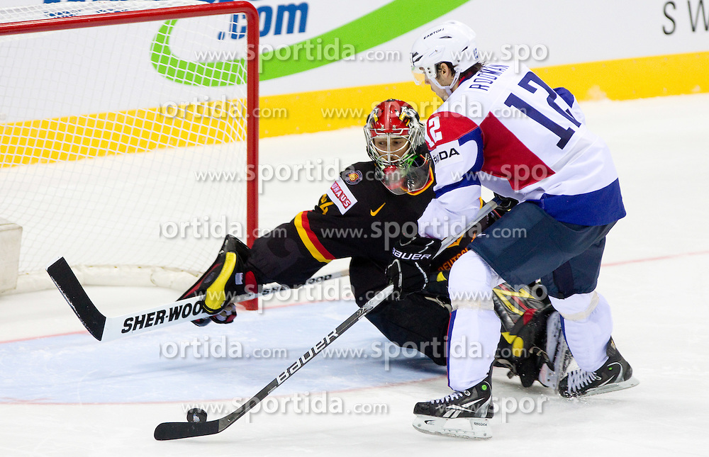 Dennis Endras of Germany vs David Rodman of Slovenia during penalty shots during ice-hockey match between Slovenia and Germany of Group A of IIHF 2011 World Championship Slovakia, on May 3, 2011 in Orange Arena, Bratislava, Slovakia. Germany defeated Slovenia 3-2 after overtime and penalty shots. (Photo By Vid Ponikvar / Sportida.com)