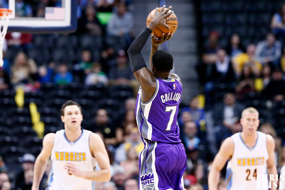 06 March 2017: Sacramento Kings guard Darren Collison (7) takes a jump shot during the Denver Nuggets 108-96 victory over the Sacramento Kings, at the Pepsi Center, Denver, Colorado, USA.