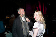 JONATHAN PRYCE; FIONA GLASCOTT, Party after the opening of 'Flea in her Ear' . The Old Vic. ( John Mortimer write the translation of theplay.) Vinioplois. 14 December 2010. DO NOT ARCHIVE-© Copyright Photograph by Dafydd Jones. 248 Clapham Rd. London SW9 0PZ. Tel 0207 820 0771. www.dafjones.com.