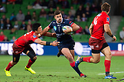 MELBOURNE, AUSTRALIA - APRIL 06: Tom English of the Rebels controls the ball downfield at round 8 of The Super Rugby match between Melbourne Rebels and Sunwolves on April 06, 2019 at AAMI Park in VIC, Australia. (Photo by Speed Media/Icon Sportswire)