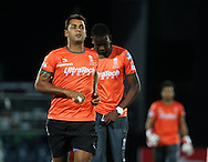 Rajasthan Royals player Stuart Binny and Rajasthan Royals player Kevon Copper during the warm up session of  match 1 of the Karbonn Smart Champions League T20 (CLT20) 2013  between The Rajasthan Royals and the Mumbai Indians held at the Sawai Mansingh Stadium in Jaipur on the 21st September 2013<br /> <br /> Photo by Vipin Pawar-CLT20-SPORTZPICS <br /> <br /> Use of this image is subject to the terms and conditions as outlined by the CLT20. These terms can be found by following this link:<br /> <br /> http://sportzpics.photoshelter.com/image/I0000NmDchxxGVv4