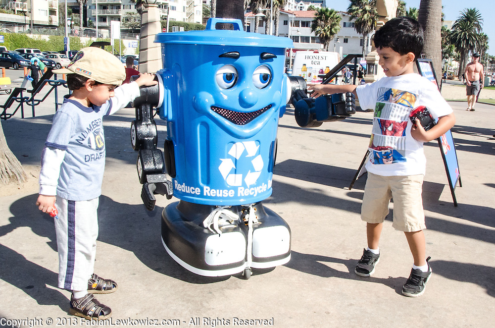 "Curby ""The Recycling Robot"" - Santa Monica visits with children during Heal the Bay's Coastal Cleanup Day on Saturday, September 21, 2013. Curby the Recycling Robot travels throughout Santa Monica teaching the importance of recycling, composting and reuse!"