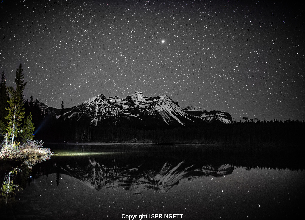 Aurora and stars at Herbert Lake., Alberta, Canada, Isobel Springett