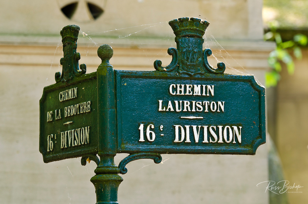 Street sign at Père Lachaise Cemetery, Paris, France