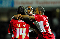 Photo: Leigh Quinnell/Sportsbeat Images.<br /> Watford v Bristol City. Coca Cola Championship. 01/12/2007. Bristol Citys Cole Skuse and Marvin Elliott congratulate Darren Byfield on his winning goal.