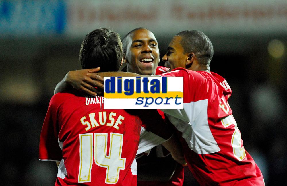 Photo: Leigh Quinnell/Sportsbeat Images.<br /> Watford v Bristol City. Coca Cola Championship. 01/12/2007. Bristol Citys Cole Skuse and Marvin Elliott congratulate Darren Byfield on his winning goal.