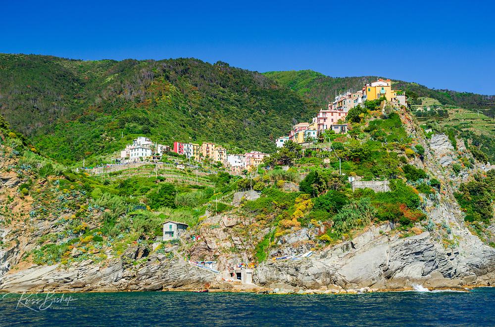 The village of Corniglia from the water, Cinque Terre, Liguria, Italy