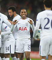 Football - 2017 / 2018 UEFA Champions League - Group H: Tottenham Hotspur vs. APOEL Nicosia<br /> <br /> Kyle Walker - Peters joins in the celebrates after Georges - Kevin N'Koudou had scored goal no 3 for Tottenham, at Wembley Stadium.<br /> <br /> COLORSPORT/ANDREW COWIE