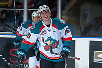 KELOWNA, CANADA - MARCH 3: Kole Lind #16 of the Kelowna Rockets celebrates a goal against the Spokane Chiefs  on March 3, 2018 at Prospera Place in Kelowna, British Columbia, Canada.  (Photo by Marissa Baecker/Shoot the Breeze)  *** Local Caption ***