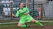 Sam Saint lets her passion show as she makes a fine save in the shootout during the Women's FA Cup match between Charlton Athletic WFC and Crystal Palace LFC at Sporting Club Thamesmead, Thamesmead, United Kingdom on 8 March 2015. Photo by Michael Hulf.