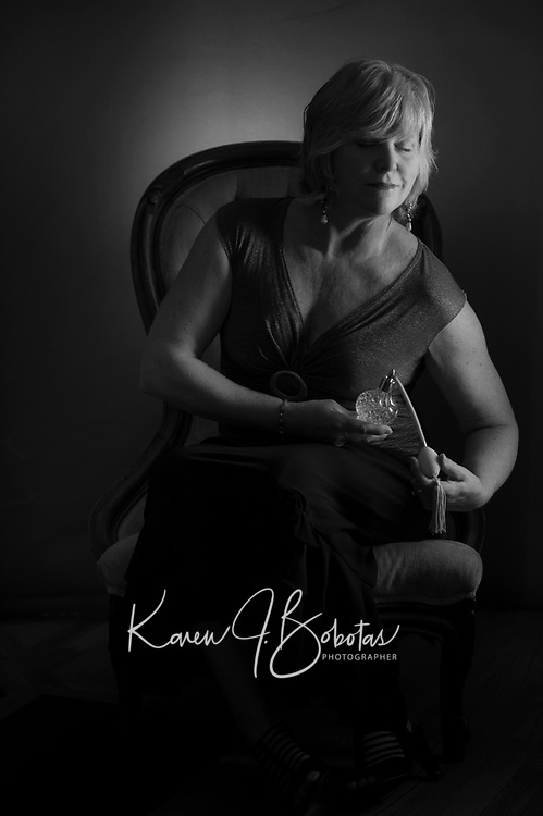 Vintage mood self portraiture.  ©2017 Karen Bobotas Photographer
