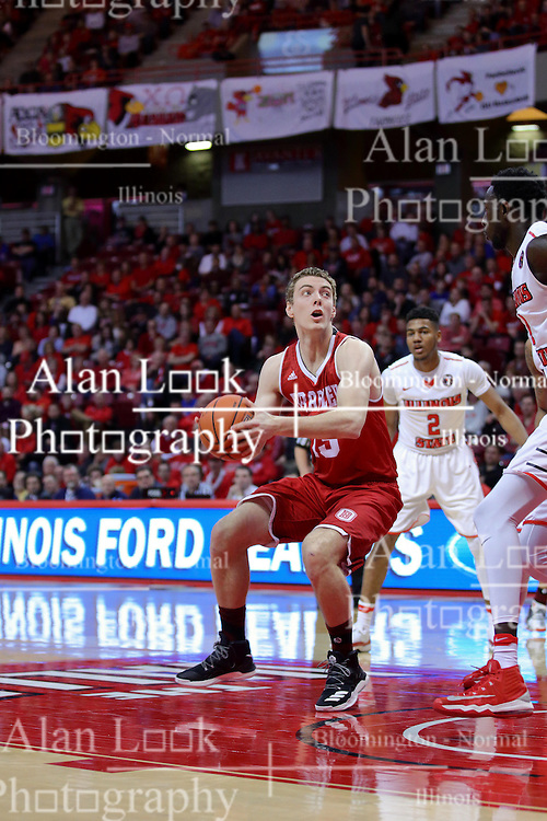 11 February 2017:  Luuk van Bree eyes the bucket during a College MVC (Missouri Valley conference) mens basketball game between the Bradley Braves and Illinois State Redbirds in  Redbird Arena, Normal IL