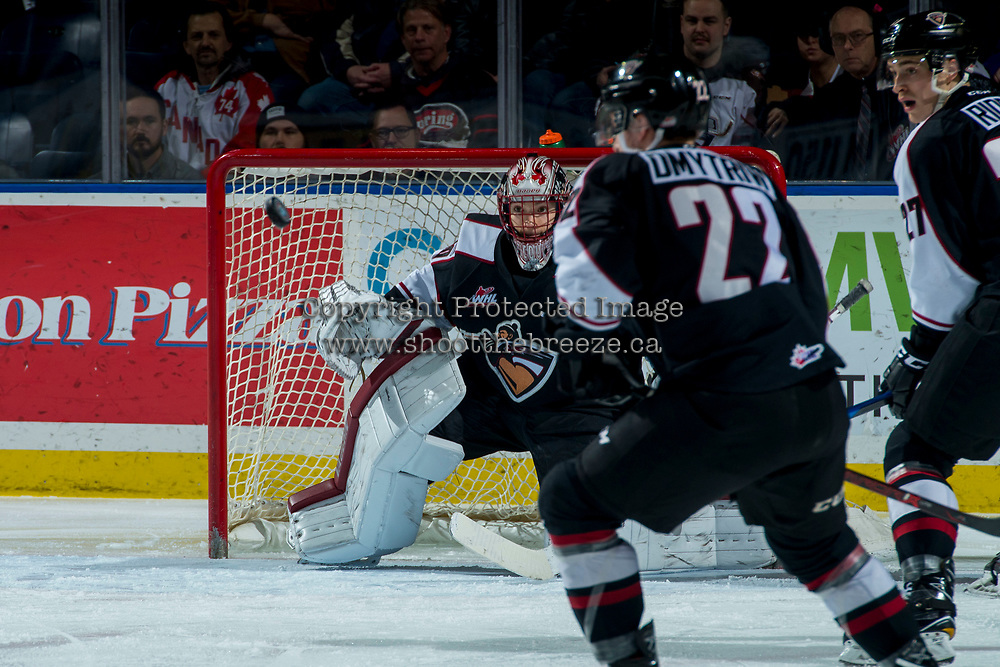 KELOWNA, CANADA - MARCH 7:  David Tendeck #30 of the Vancouver Giants keeps his eye on the puck against the Kelowna Rockets on March 7, 2018 at Prospera Place in Kelowna, British Columbia, Canada.  (Photo by Marissa Baecker/Shoot the Breeze)  *** Local Caption ***