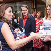 NLD/Amsterdam/20130506 -  Boekpresentatie 'De hartsvriendin' van Heleen van Royen, Marlies Dekkers krijgt eerste boek van Heleen van Royen
