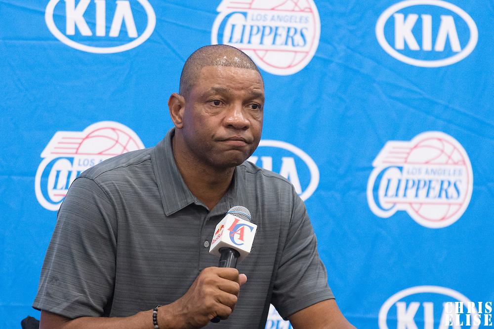 29 September 2014: Doc Rivers is seen during the Los Angeles Clippers Media Day, at Los Angeles Clippers Training Facility, Playa Vista, California, USA.