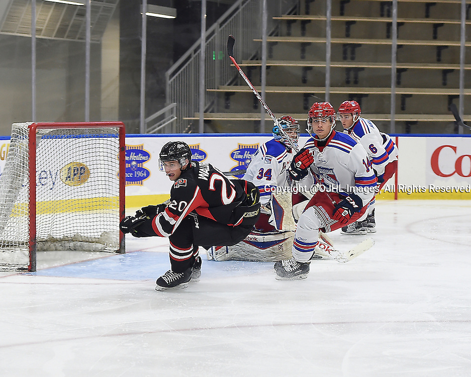 BUFFALO, ON - Sep 22, 2015 : Ontario Junior Hockey League game action between Oakville and Pickering at the Showcase, <br /> (Photo by Andy Corneau / OJHL Images)