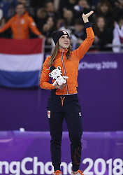 PYEONGCHANG, Feb. 22, 2018  Suzanne Schulting of the Netherlands reacts during venue ceremony of women's 1000m final of short track speed skating at the 2018 PyeongChang Winter Olympic Games at Gangneung Ice Arena, Gangneung, South Korea, Feb. 22, 2018. Suzanne Schulting claimed champion in a time of 1:29.778. (Credit Image: © Wang Song/Xinhua via ZUMA Wire)