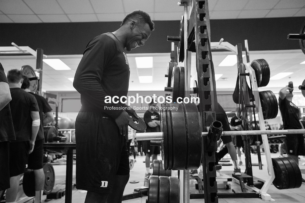 2015 October 15: Myles Jones #15 of Duke Blue Devils during weightlifting at Duke University in Durham, NC.